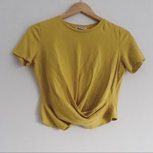 Zara Gold Yellow Wrap Crop Top Shirt